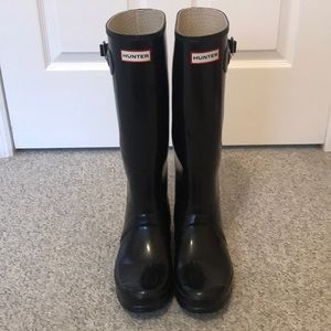 HUNTER boots tall glossy black